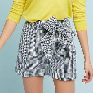Anthropologie Gingham High Waist Tie Shorts